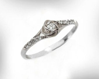 vintage engagement ring 14k 18k white gold diamond engagement ring rose engagement ring - Unique Wedding Ring Set