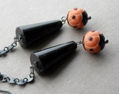 punctuation earrings - one of a kind - vintage lucite and sterling