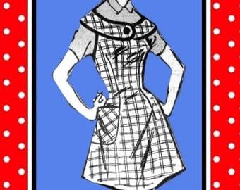 Vintage 1957-Darling Yoke Apron-Mail Order Sewing Pattern-Shaped Yoke-Patch Pocket-Dart Fitted-Bias Binding Trim-Size Medium-Rare