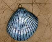 Artisan ceramic seashell focal shell pendant blue beads handmade large focal bead artisan jewelry component ocean themed beads  beach themed