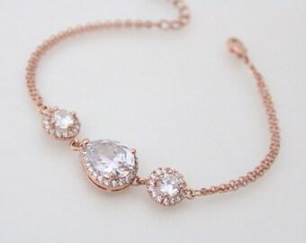Bridal bracelet, Rose Gold bracelet, Bridal jewelry, Rose gold Bangle, Crystal bracelet, Wedding bracelet, Simple bracelet, Bridesmaid gift