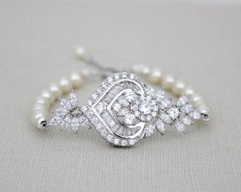 Bridal bracelet, Wedding bracelet, Bridal jewelry, Pearl bracelet, Art Deco bracelet, Rhinestone bracelet, Wedding jewelry, CZ bracelet,EMMA