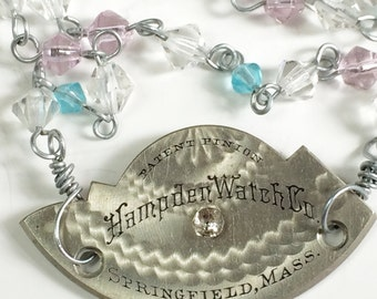 Steampunk Necklace Engraved Watch Plate on Crystal Chain
