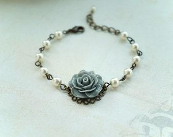 Grey Rose Ivory Pearls Vintage Style Bracelet. Bridesmaids Gift. Wedding Bracelet. Grey Wedding. Pink Grey Wedding, Ivory Pearl Bracelet