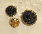 3 Antique Vest Buttons, Glass mounted in Golden Metal - Woman Head