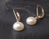 Pearl drop earrings, simple pearl earrings, 14k gold filled, June birthstone - Lillia