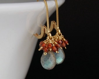 Labradorite earrings with garnets, handmade gold wire wrapped jewelry, Christmas gift, gifts for her - Ornaments