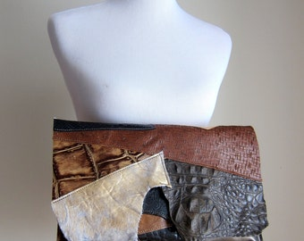 LEATHER Large Oversized Huge Clutch Bag Purse Shoulder Strap Cross Body - Raw Rustic with Raw Edge Multi Color Patchwork