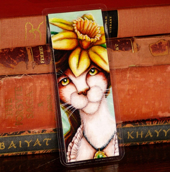 Daffodil Cat Bookmark,Flower Fairy Cat Art Bookmark