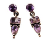Amethyst Earrings, Sterling Silver, Vintage Earrings, Ethnic Tribal, Pierced Dangle, Multi Gemstone Purple Stone, Boho Jewelry, Bohemian