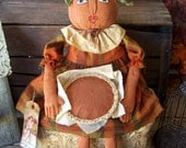 "Primitive Pumpkin Art Doll & Pumpkin Pie Thanksgiving Fall Harvest Autumn Folk Art ""Sweet As Pie"" OFG HAFAIR FAAP"