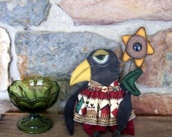 PriMiTiVe fOlK aRt Black Crow Art Doll Fall Sunflower Garden OFG HAFAIR FAAP