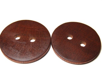 Large Wooden Buttons, Exotic Wood Buttons, Natural Wooden Buttons, Two Handmade Mahogany Wood Buttons, 1 7/8 Inches (48 mm)