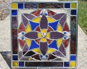 Purple, Red Violet Purple, Blue and Yellow Geometric Stained Glass Panel
