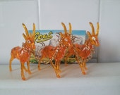 Vintage Orange Acrylic Lucite GOATS Animal Collection Set of 3 With Box