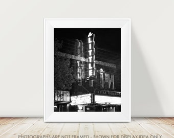 Theater Photograph, Urban Black and White Photography, City Street, Night Photograph, Little Theater, Rochester New York, Sign Photograph