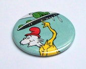 Pocket Mirror, Upcycled Green Eggs and Ham vintage Dr Seuss book Recycled into a Two Inch Pocket Mirror