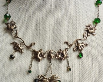 Vintage Lovebirds and Florals Necklace--Emerald Green-May birthday