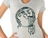 womens shirts - art nouveau print - Jesus shirt - Christian shirt - Bible shirt -Bible verse - Christian gifts-NOUVEAU GIRL-sport vneck
