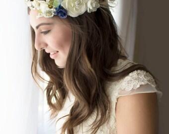 Wedding crown, bridal crown, flower crown, bridal wreath, Ivory Ranunculus crown, something blue, crown, halo,