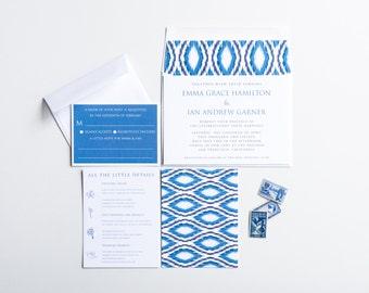 Indigo Ikat Wedding Invitation Collection, Navy and Indigo, Wedding Announcement, Save The Date, Bridal Shower