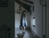 OOAK Ombrè collared pinafore dress in blue silk and cotton, heavy weight silk