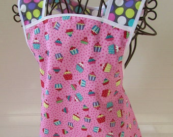 Child Apron vintage pink cupcakes white gray 1950s