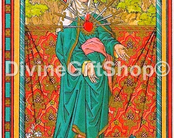 """Icon Our Lady of Sorrows 5"""" X 7"""" Print. Beautiful image."""