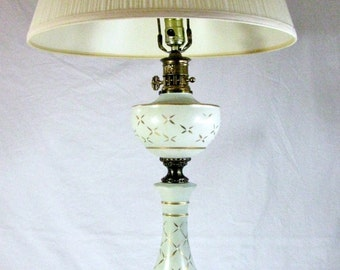 VINTAGE TABLE Lamp / ATOMIC Genie Bottle Lamp / Starburst Lamp / Frosted Glass Table Lamp