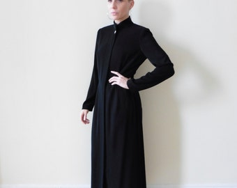 Long Black Minimal Coat Dress