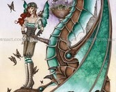 6x9 PRINT Mechanical Mischief dragon by Amy Brown