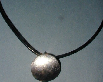 Vintage Sterling 3D O Necklace with Rubber Cord Ornate Clasp