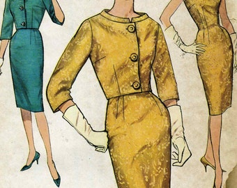 Vintage 60s Simplicity 4173 Misses Sheath Dress with Shaped Neckline and Cropped Jacket Sewing Pattern Size 12 Bust 32