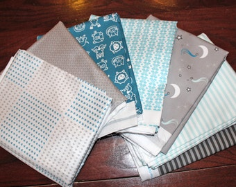 "Baby Boy Fabric, 63 Precut 6"" Squares, Organic Cotton Fabric, Farm Animals, Turquoise Blue, Grey,  Exclusive Design, Prewashed, Ready to Sew"