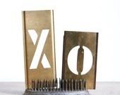 Vintage Brass Letter Stencil / Metal Stencils / Industrial Decor / XO