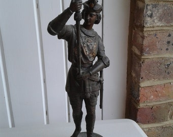 Patinated Spelter Figurine - Young Knight
