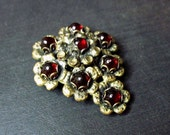 Vintage 1930s Art Deco Dress Clip - Goth - Fur Clip - Art Deco Jewelry - Dark Red Stones