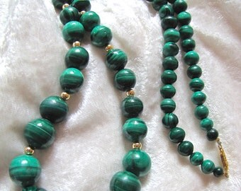 Vintage Malachite 14Kt G.F. Beaded Necklace Earthy Healing Greens  Mother's Day/ Anniversary-Birthday