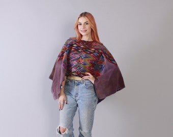 Vintage 70s Ethnic PONCHO / 1970s SW South American Woven Huipil Bohemian Festival Cropped Cape