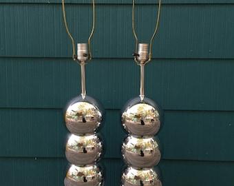 Vintage 1970s Mid Century Modern George Kovacs Style Chrome Ball Lamps - PAIR - Mad Men Designer Lighting