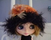 Hand Knitted Hat for Blythe....Darling for Fall...Orange and Black...Millinery Flowers with Feathers...Soooo Cute