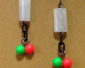 SALE Snow Quartz, Black Chain, and Swarovski Crystal Pearl Earrings / Snowy Quartz Earrings / Swarovski Pearl Earrings