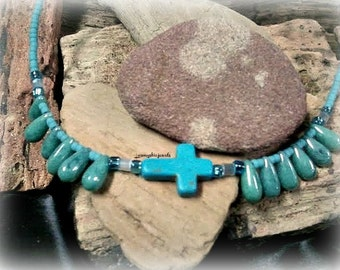 Turquoise Sideway Cross Necklace, Chakra Necklace,Teenage Girl Jewelry,Faith Jewelry,I love Jesus,Ready to Ship,Direct Checkout,