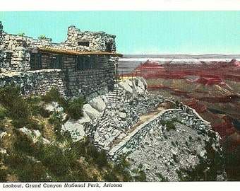 Vintage Arizona Postcard - The Lookout Studio at Grand Canyon National Park (Unused)