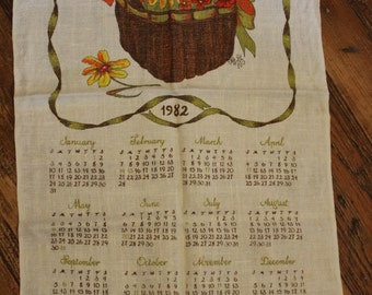 1982 Linen Tea Towel Calendar, Basket of Flowers