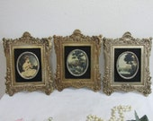 Victorian Pictures Set of 3 in Ornate Molded Plastic Frames