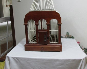 Birdcage Wedding Card Holder Wood and White Wire Home Decor Plant Holder