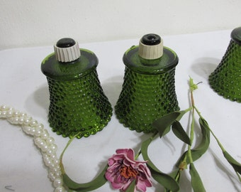 Glass Votive Cups Candle Holders Set of 2 Green Hobnail