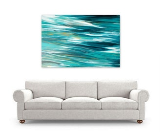 Digital Print, Ocean Abstract Painting, Instant Download, Modern Beach Home Decor by Jessica Torrant, turquoise teal white water reflections