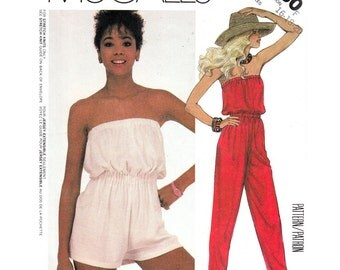 1980s Vintage Jumpsuit Pattern McCalls 2030 Strapless Jumpsuit or Romper Beach Cover Up Playsuit Womens Sewing Pattern Size 14 16 18 UNCUT